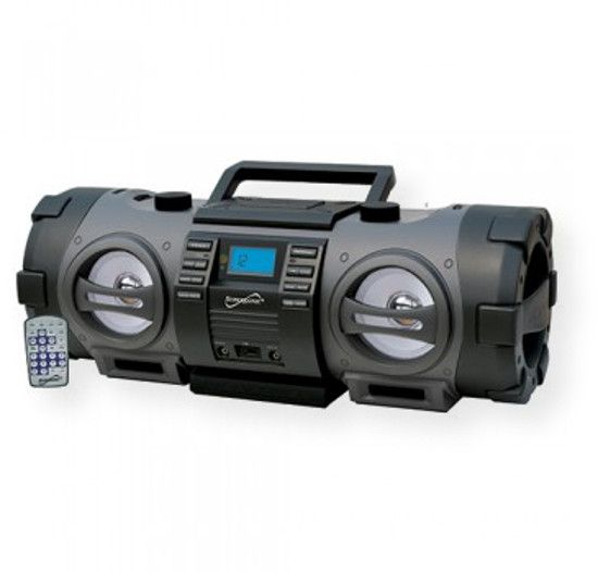 Supersonic SC2711BT BOOMBOX Wireless Portable Audio System; Black; Portable Wireless Audio System; Top Loading CD/CD-R/CD-RW/MP3/WMA Player; Built in BT Compatible (wireless connectivity to other devices.) Allows Your Audio System to Work with BT Enabled Devices; UPC 639131727113 (SC2711BT SC-2711BT SC2711BTAUDIOSYSTEM SC2711BT-AUDIOSYSTEM SC2711BTSUPERSONIC SC2711BT-SUPERSONIC)