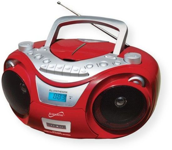 Supersonic SC739BTRD CD MP3 Bluetooth AM FM Boombox; Red;  Top Loading CD Player with BT; Wireless Built in BT Receiver Allows You to Wirelessly Connect Your iPad, iPhone, Tablet, HDTV, Laptop, MP3 Player and More; MP3/CD/CD-R/CD-RW Compatible; AM/FM Radio; PLL Tuning Radio; Built in USB Input Allows You to Play Media Devices Such as iPhones, iPads etc; UPC 639131707399 (SC739BTRD SC739BT-RD SC739BTRDCDMP3 SC739BTRD-CDMP3 SC739BTRDSUPERSONIC SC739BTRD-SUPERSONIC)