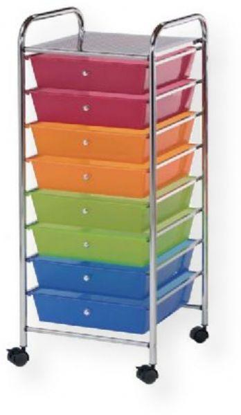 Alvin SC8MC12 Storage Cart 8 Drawer Wide, Multi-Colored