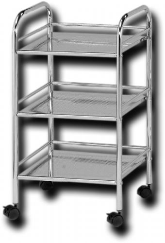 Alvin SH3CH Storage Cart 3-Shelf Chrome, Chrome plated finish, Side and rear shelf rails keep contents from falling off the edge, 14.5