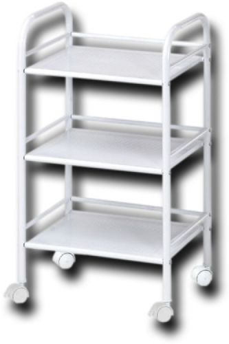 Alvin SH3WH Storage Cart 3-Shelf White, Matte powder-coated white finish, Side and rear shelf rails keep contents from falling off the edge, 14.5