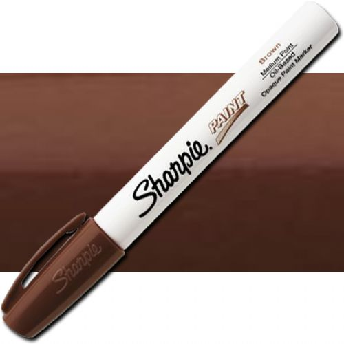 Sharpie 35553 Oil Paint Marker Medium Brown; Permanent, oil-based opaque paint markers mark on light and dark surfaces; Use on virtually any surface; metal, pottery, wood, rubber, glass, plastic, stone, and more; Quick-drying, and resistant to water, fading, and abrasion; Xylene-free; AP certified; Brown, Medium; Dimensions 5.5
