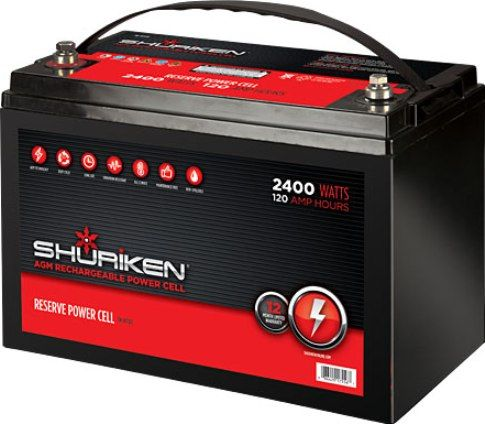 Shuriken Sk Bt120 Car Battery Cell 2400 Watts 120 Amp Hours 12 Volt Large Size