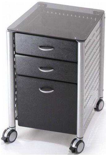 Delicieux Innovex SKG02G29 Leda Desk Collection, Filing Cabinet, Black Glass Top,  Ergonomic Design, Two Utility Storage Drawers For Storing All Of Your  Desktop Items, ...