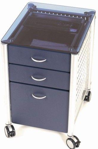 Innovex SKG02G90 Leda Desk Collection, Filing Cabinet, Blue Glass ...