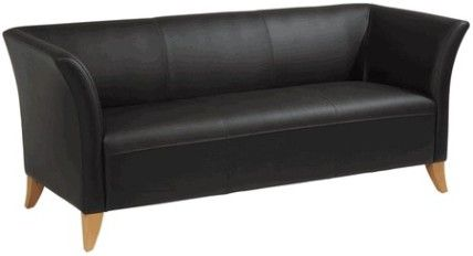 office star sl1513 black leather sofa with maple finished legs extra wide seating area thickly padded cushions solid wood legs 608 w x 213 d x 13 black leather sofa office