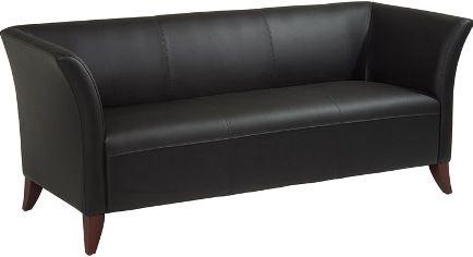 Office Star SL1573 Black Leather Sofa Supple Black