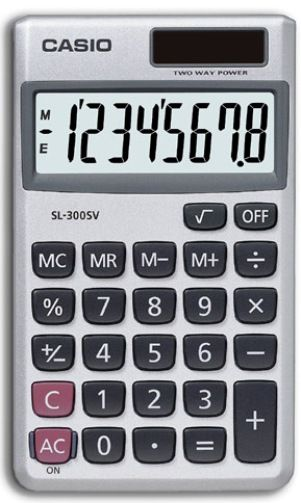 Casio SL-300SV Basic Calculator 8-digit display,16-digit approximations; Solar Plus with battery backup; Independent Memory; Percent (SL300SV SL300V SL300 SL300S SL-300 SL-300V SL-300SV SL-300S CSOSL300SV CASSL300SV CASSL300 CASSL300V)