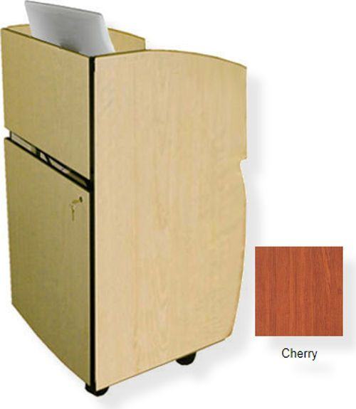 Amplivox SN3635 Mobil Lite Lectern, Cherry; Open Front Cabinet Design;  Fixed Desktop With Two 60MM Grommets At The Rear Corners; Setup For 2  Adjustable ...