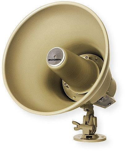 Bogen SPT15A Horn Loudspeaker with Transformer 70 Volt for Indoor and Outdoor; Mocha; High intelligibility and efficiency, ideal for both one way and talk back applications; Weatherproof, all metal construction; 15 watts; 25 or 70 Volt operation; Tap settings for 70 Volt: 15, 7.5, 3.8, 1.8, 0.9 Watts, for 25 Volt: 15, 7.5, 1.8, 0.94, 0.46 Watts; UPC 765368360332 (SPT15A SPT-15A BOGENSPT15A BOGEN-SPT15A SPT15A HORN HORNSPT15A-SPEAKER)