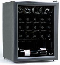 Sanyo SR-2406; Wine Cooler Holds up to 24 Bottles, Adjustable Thermostat Control, Four Slide-Out Shelves, Adjustable Thermostat Control, Smooth Back Design, Double-Paned Tempered Glass Door, Eclipse Series Black Interior, Dimensions: W 18 5/8