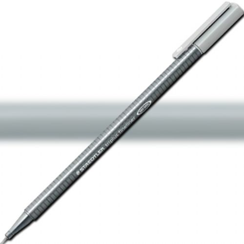 Staedtler 334-82 Triplus, Fineliner Pen, 0.3 mm Silver Grey; Slim and lightweight with a 0.3mm superfine, metal-clad tip; Ergonomic, triangular-shaped barrel for fatigue-free writing; Dry-safe feature allows for several days of cap-off time without ink drying out; Acid-free; Dimensions 6.3
