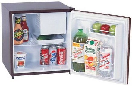 Summit SW 23L, 1.7 C.f. Compact Refrigerator Freezer, Reversible Door In A  Walnut Finish With Side Mounted Lock ...