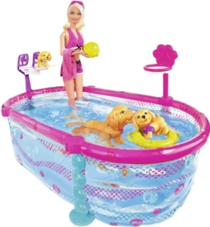 Mattel t2706 barbie puppy swim school with pool barbie doll wears the sweetest pink bathing for Barbie doll house with swimming pool