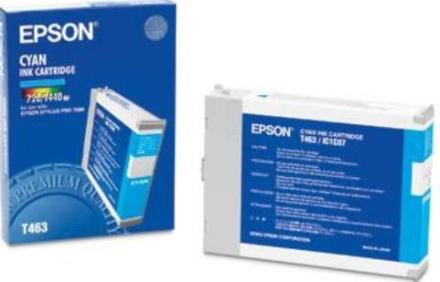 Epson T463011 Ink Cartridge, Inkjet Print Technology, Cyan Print Color, 28 Page A1 at 40 % Coverage 720 dpi and 3800 Page A4 at 5 % Coverage 360 dpi Print Yield, Epson DURABrite Ultra Cartridge Features, For use with EPSON Stylus Pro 7000 (T463011 T463 011 T463-011 T 463011 T-463011)