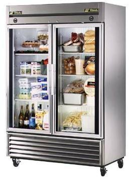 True T 49DT G Glass Door Dual Temperature Refrigerator/Freezer, Capacity 23  CU FT Per Section, 2 Glass Doors, 3 Shelves Per Door 24 1/4 X 23 3/8 Inches  Each ...