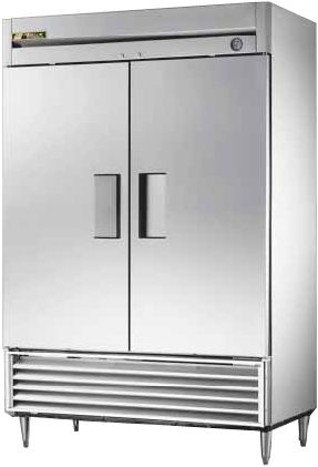 True T-49-RC Refrigerator Cabinet, Remote Reach-in, Two-Section, Oversized aluminum fin, copper tube condenser, sized for high ambient temperature, Liquid line drier, Sightglass, 300 series stainless steel front Exterior, aluminium ends, white, aluminium, 300 series stainless steel floor Interior, (2) stainless steel hinged doors with locks, dial thermostat, 6