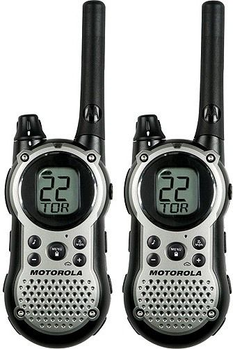 Motorola T9680RSAME Talkabout GMRS/FRS 2-Way Radios With 28-Mile Range, 22 channels each with 121 privacy codes for 2,662 combinations, NOAA/11 channel weather alert and 10 call tones, Backlit display, LCD battery meter, battery save, power save and audible low battery alert, Includes 2 belt clips, 2-port desktop charger, 1 charging adapter and 2 NiMH battery packs (T9680-SAME T9680 SAME MOT-T9680RSAME)
