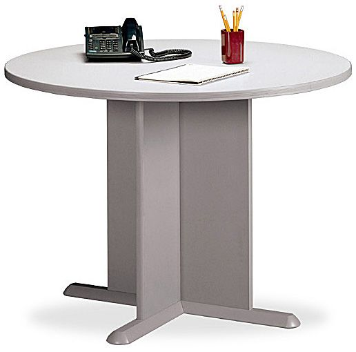 Bush TB Round Conference Table White Spectrum Finish - Round conference table for 8
