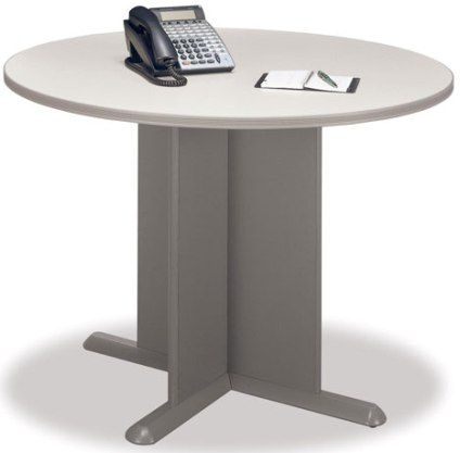 Bush tb75742a taupe round conference table x panel base - Table basse taupe ...