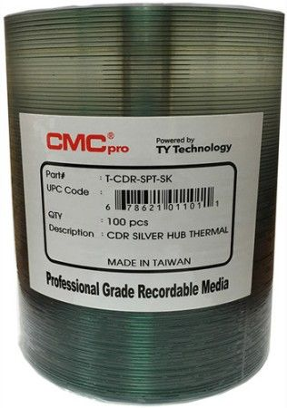 Microboards TCDR-SPT-SK CMC Pro Professional Grade CD-R Media, Up to 52X Maximum Record Speed, 80 Minutes/700 MB Capacity, Silver Thermal Everest Hub-Printable, All Forms of Audio and Data Writes, Zero Wave Distortion, Lowest Jitter Levels, Estimated 100 Year Data Integrity, 100 Disc Tape Wrap, UPC 678621011011 (TCDRSPTSK TCDRSPT-SK TCDR-SPTSK)