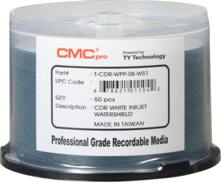 Microboards TCDR-WPP-SB-WS CMC Pro Professional Grade CD-R Media, Up to 52X Maximum Record Speed, 80 Minutes/700 MB Capacity, Water Shield White Inkjet Hub-Printable, All Forms of Audio and Data Writes, Zero Wave Distortion, Lowest Jitter Levels, Estimated 100 Year Data Integrity, 50 Disc Cakebox, UPC 678621011042 (TCDRWPPSBWS TCDRWPP-SBWS TCDR-WPP-SBWS TCDRWPP-SB-WS TCDR-WPP-SBWS)