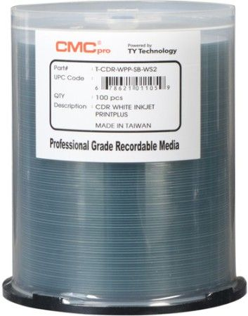 Microboards TCDR-WPP-SB-WS2 CMC Pro Professional Grade CD-R Media, Up to 52X Maximum Record Speed, 80 Minutes/700 MB Capacity, PrintPlus White Inkjet Hub-Printable, All Forms of Audio and Data Writes, Zero Wave Distortion, Lowest Jitter Levels, Estimated 100 Year Data Integrity, 100 Disc Cakebox, UPC 678621011059 (TCDRWPPSBWS2 TCDR-WPPSB-WS2 TCDRWPP-SBWS2 TCDRWPP-SB-WS2 TCDR-WPP-SBWS2)
