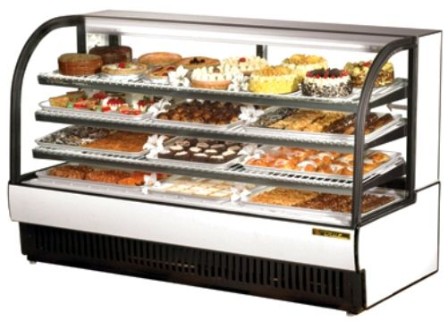 TCGR-77 Curved Glass Refrigerated Bakery Case, 43 cuft, Cabinet is ...
