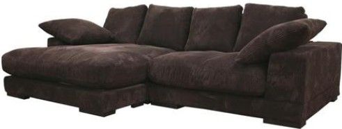Wholesale Interiors TD8312 HE03 050 Panos Dual Configuration Fabric  Sectional, Modern Sectional Sofa, Dark Brown Velvety Microfiber Upholstery  With A Ribbed ...