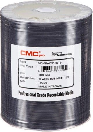 Microboards TDMR-WPP-SK16 CMC Pro Professional Grade DVD-R Media, Up to 16X Maximum Record Speed, 4.7GB Capacity, White Inkjet Hub-Printable, All Frms of Audio and Data Writes, Zero Wave Distortion, Lowest Jitter Levels, Estimated 50 Year Data Integrity, 100 Disc Tape Wrap, UPC 678621011202 (TDMRWPPSK16 TDMRWPP-SK16 TDMR-WPPSK16)