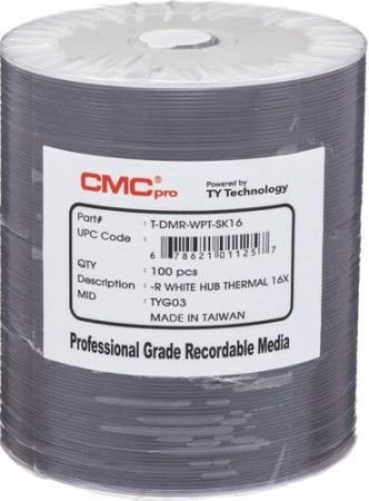 Microboards TDMR-WPT-SK16 CMC Pro Professional Grade DVD-R Media, Up to 16X Maximum Record Speed, 4.7GB Capacity, White Everest Thermal Hub-Printable, All Forms of Audio and Data Writes, Zero Wave Distortion, Lowest Jitter Levels, Estimated 50 Year Data Integrity, 100 Disc Tape Wrap, UPC 678621011257 (TDMRWPTSK16 TDMRWPT-SK16 TDMR-WPTSK16)