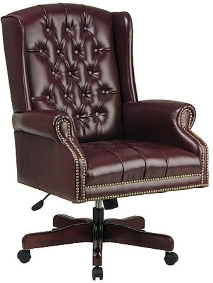 Office StarTEX220 Traditional Oxblood Vinyl Wing Back Chair Thickly Padded S