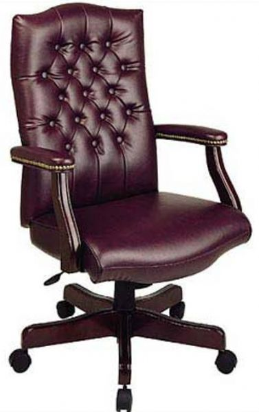 Office Star TEX232 Traditional Vinyl Executive Chair Thickly Padded Back Am