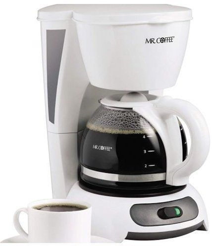 Mr. Coffee TF4 Coffee Maker, 4 Cup, Switch type, White, UPC 72179266406, Brewing Pause n Serve ...