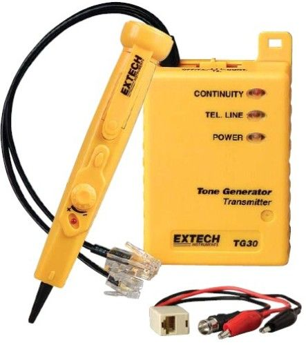 Extech TG30 Wire Tracer/Tone Generator Kit, Trace communications and coaxial cables, Includes connectors for use on LAN, Telephone, and Video cables, Transmitter injects traceable signal into cables, checks telephone lines, and performs continuity checks, Non-Contact probe audibly identifies selected wire or cable, UPC 793950481301 (TG-30 TG 30)