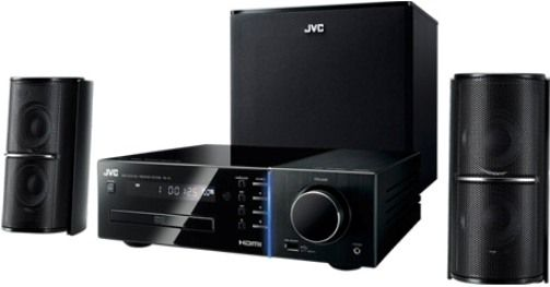 JVC TH-F3 DVD-Audio/Video Front Surround Theater System, 350W RMS Total Power, Frequency Range 80Hz - 20kHz, Sound Pressure Level 80dB/W.m, HDMI Output with 1080p Up-Conversion, Connection for iPod and USB Host, Dolby Digital/DTS/Dolby Pro Logic II Decoders, Video D/A Converter 12-bit/108MHz, Audio D/A Converter 192kHz/24-bit, UPC 046838033278 (THF3 TH F3)