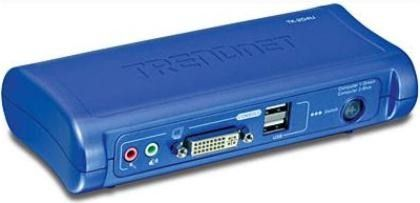 Trendnet TK-204UK Two-Port DVI USB KVM Switch with Audio Kit, USB console support for USB keyboard, mouse and high-speed USB devices, Audio and microphone switching for uninterrupted multimedia experience across multi-platforms, USB 2.0/1.1 specification compliant USB interface power, Independent simultaneous switching of both PC and audio and mic channel (TK 204UK TK204UK)