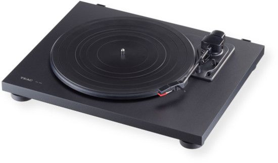 TEAC TN100B Turntable System; Black; Belt drive turntable; Built in phono equalizer with USB output; Phono, line, and USB outputs; Easily transfer music from vinyl to Mac or PC over USB; Dense composite wood construction for better vibration and resonance control; 3 speed (33/45/78 RPM); Stylish flat black or cherry chassis finish; Anti skating system prevents tracking errors; Auto return arm lifter;  UPC 043774031955 (TN100B TN100-B TN100BTEAC TN100B-TEAC TN100B-TURNTABLE TN100BTURNTABLE)