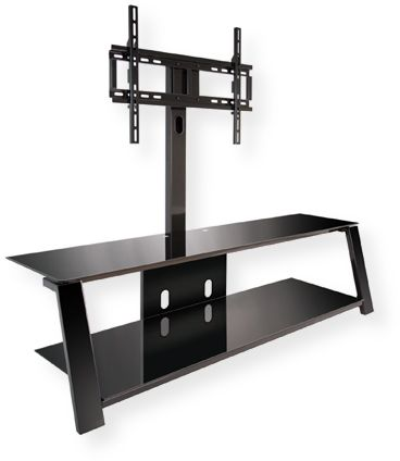 BellO TP4463 Triple Play Universal Flat Panel Audio and Video System; Black; Versatile design allows user to display a TV in 3 different ways: On the swivel mounting pole, On the included wall mount, Simply placed on the stand; Accommodates most flat panel TVs up to 70
