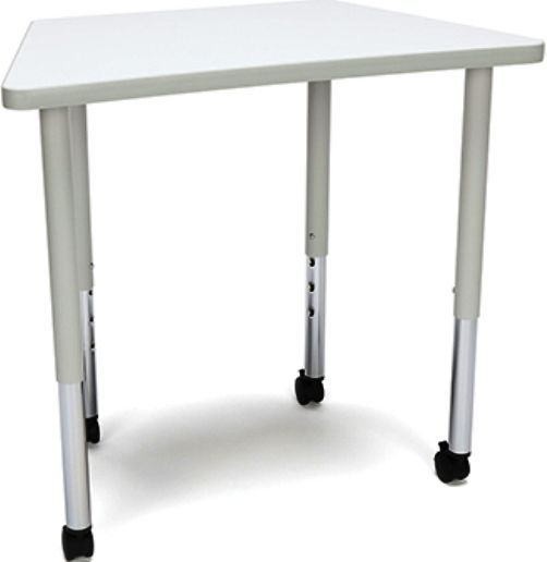 OFM TRAP-LLC-WHT Adapt series Trapezoid Table with Casters, 200 lbs. Weight Capacity, 25-33