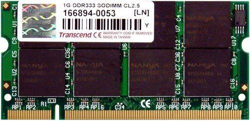 Transcend TS128MSD64V3A DDR 200Pin SO-DIMM 1GB DDR-333 Non