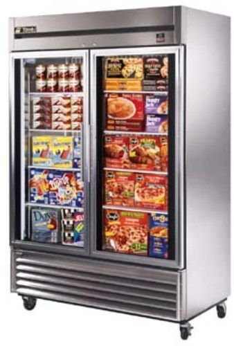 True TS-49FG Two-Section, Full Glass Door Reach-in Freezer, 300 series stainless steel interior and exterior front and sides with matching aluminum back, Entire cabinet structure and doors insulated using foamed-in-place CFC free polyurethane foam, Solar digital thermometer standard for easy visibility (TS 49FG  TS49FG)