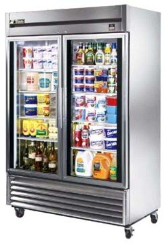 True TS-49G Reach-In All Stainless Steel Glass Door Refrigerator, 2 Doors, Capacity 49 Cu.Ft, 6 Shelves, Exterior mounted temperature monitor (TS49G TS49-G TS-49G TS-49 TS49)