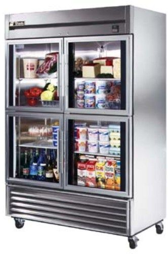 True TS-49G-4 Reach-In 300 Series Stainless Steel Glass Half Door Refrigerator, 4 Doors, Capacity 49 Cu.Ft, 6 Shelves, Exterior mounted solar, digital temperature monitor (TS49G4 TS49G-4 TS-49G4 TS-49G TS49G TS49)