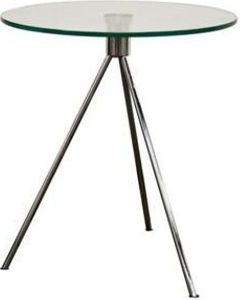 Wholesale Interiors TTT 01 Triplet Round Glass Top End Table With Tripod  Base, Steel Tripod Base, Brushed Nickel Finish, Black Plastic Non Marking  Feet, ...