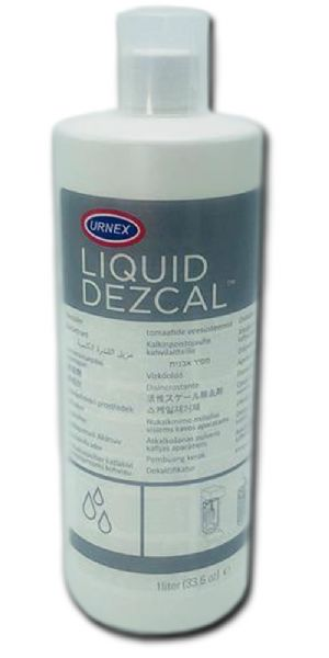 European Gift 68 Liquid Dezcal, 1 Liter Bottle; Commercial grade liquid calcium remover; Add to your machines water reservoir and flush out to clean internal parts or mix with water to use as a soak for boilers, heating elements, piping, etc; Commercial and home use; Urnex Liquid Dezcal is a potent calcium descaler suitable for home and commercial applications; UPC 725182000685 (URNEX68 URNEX 68 ESPRESSO DESCALER LIQUID HOME COMMERCIAL EUROPEAN GIFT)
