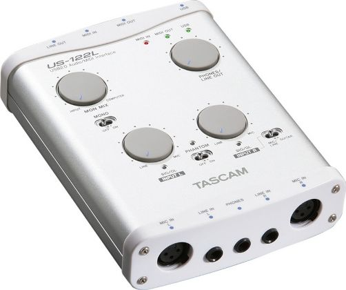 tascam us 122l portable audio midi interface 2 xlr mic inputs with phantom power 2 analog line. Black Bedroom Furniture Sets. Home Design Ideas