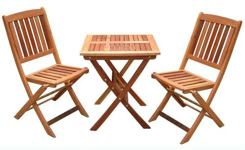 VIFAH V03SET1 Glaser Folding Bistro Set 1, 1 V03 Folding Bistro Table, 2  V04 Folding Chairs, Made Out Of FSC Certified Eucalyptus, Eucalyptus Is  Pre Treated ...