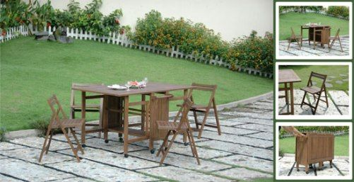 Vifah V142 Hideaway Dining Set 1 Table And 4 Chairs