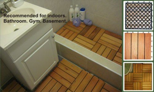 Vifah V363 Fsc Eucalyptus Anti Slip Four Slats Box Of 10 Deck Tiles Covers Sqft Outdoor Covering For Patios Decks Balconies Porches Walkways